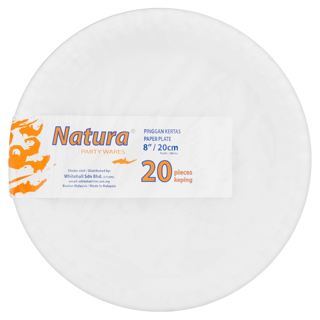 "Natura Party Wares White Paper Plate 8"" / 20cm 20 Pcs"