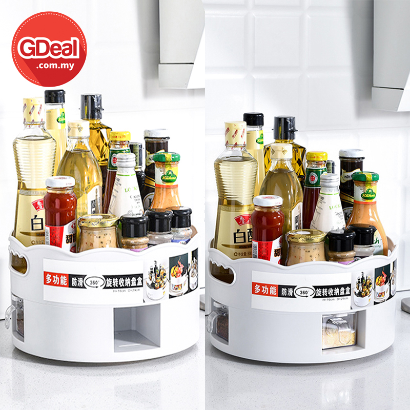 GDeal Multifunction Retractable Kitchen Double Layer Rotating Leach Water Material Storage Tray