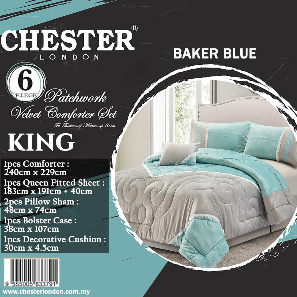 Chester London 6pcs Patchwork Velvet Comforter Set , KING - BAKER