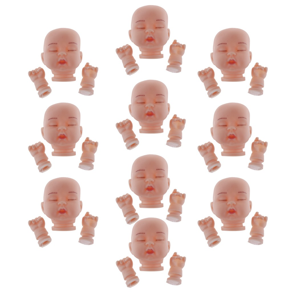 10x Cute Sleeping Doll Baby Heads for Keychain Keyring Pendant Accessory