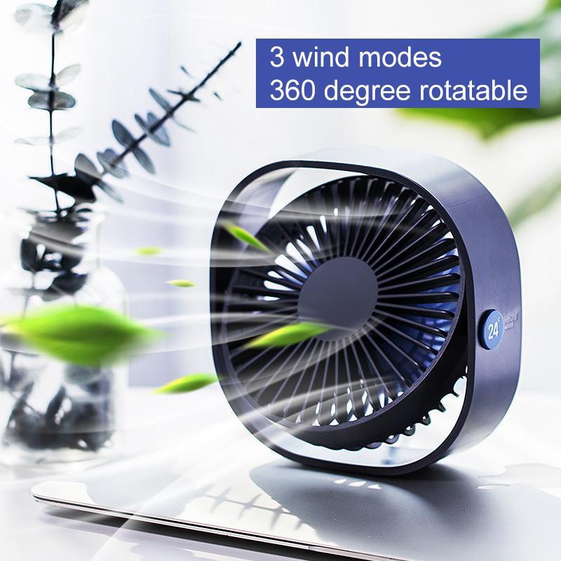 360 Degree Rotation Desktop Fan Portable Mini USB Silent Fan Office