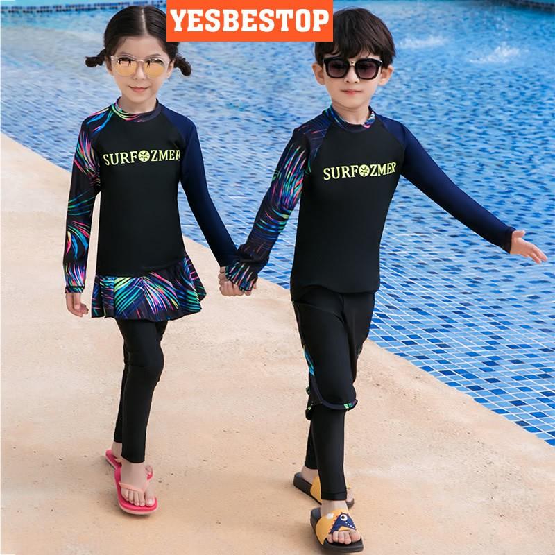 Korean Family Set Girls Boys Children Kids Swimming Suit Diving Surfing  Surfwear Baju Renang Beachwear Swimwear Swimsuit   Shopee Malaysia