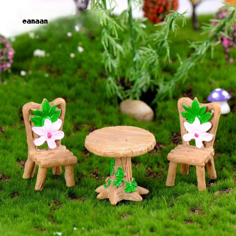 CAN_Mini Lovely Table Chairs Set Resin Crafts Miniature Landscape Ornaments  Decor