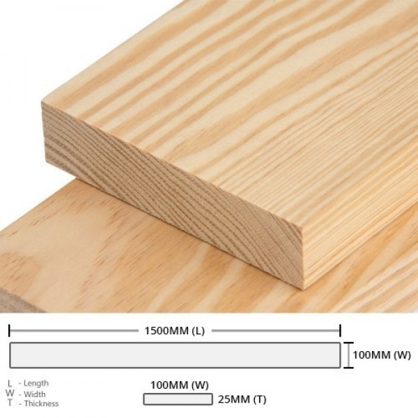 Pine Wood Timber Rectangular Rough Sawn (RS) 25MM (T) x 100MM (W) x 1500MM (L) 1PCS