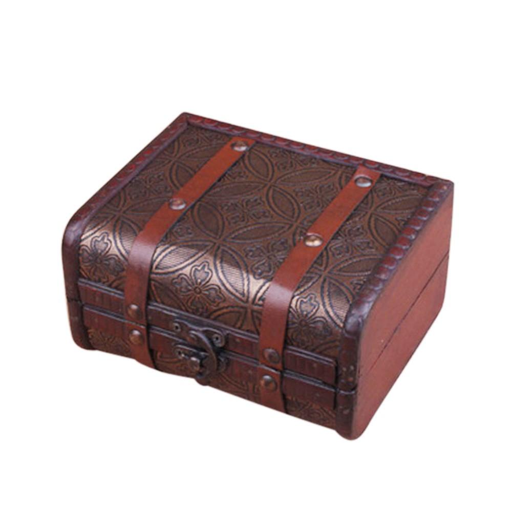 Decorative Trinket Jewelry Storage Box Handmade Vintage Wooden Treasure Case