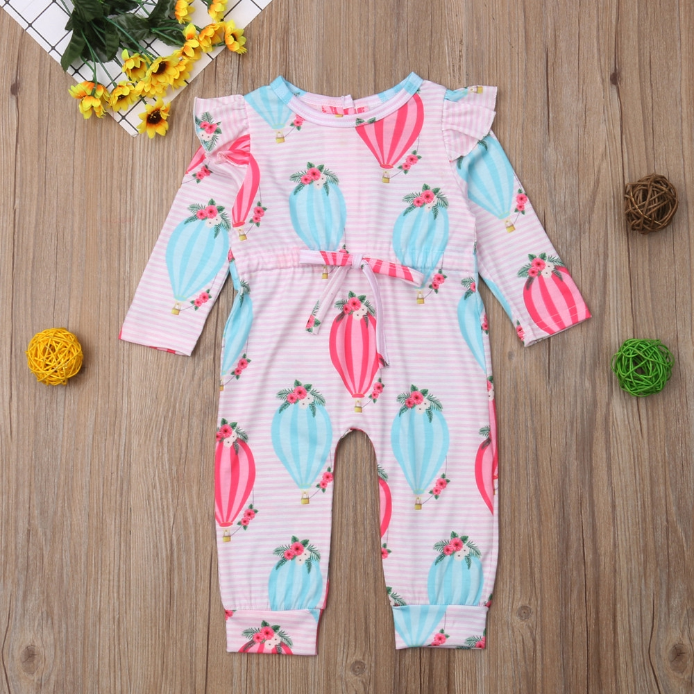 Newborn Baby Boys Girls Balloon Striped Print Romper Jumpsuit Outfits Set Baby Girls One-Piece Rompers