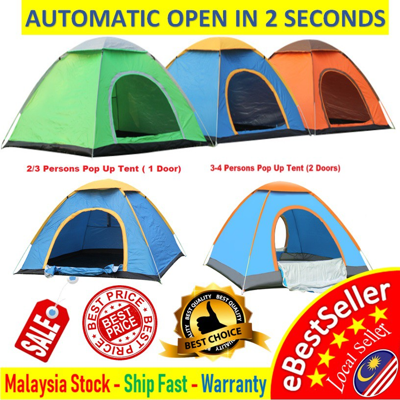 🔥🔥 2/3/4 People Outdoor Camping Tent Single Or Double Door Waterproof  Automatic Pop Up Tent Khemah Askar /Campak 🔥🔥