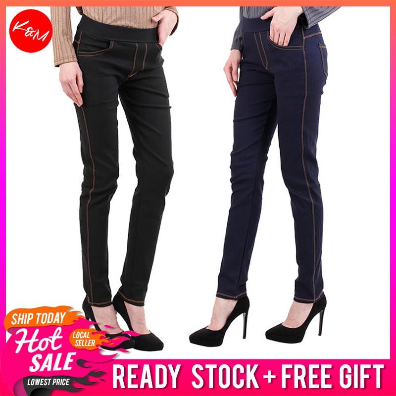 af83d6ef0f7 2 Color Korean Style Women's Elastic Highwaist Jeans   Shopee Malaysia