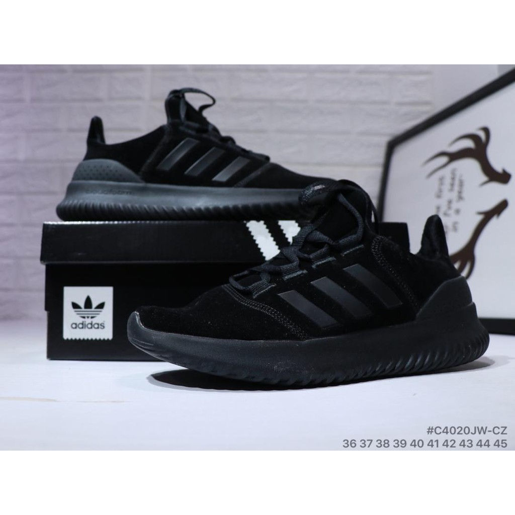 Adidas Neo Cloudfoam All Black leather soft bottom running shoes Sneakers