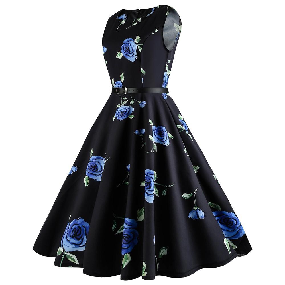 bbb6e5ac97 Plus Size 5XL Floral Printed Retro Dress