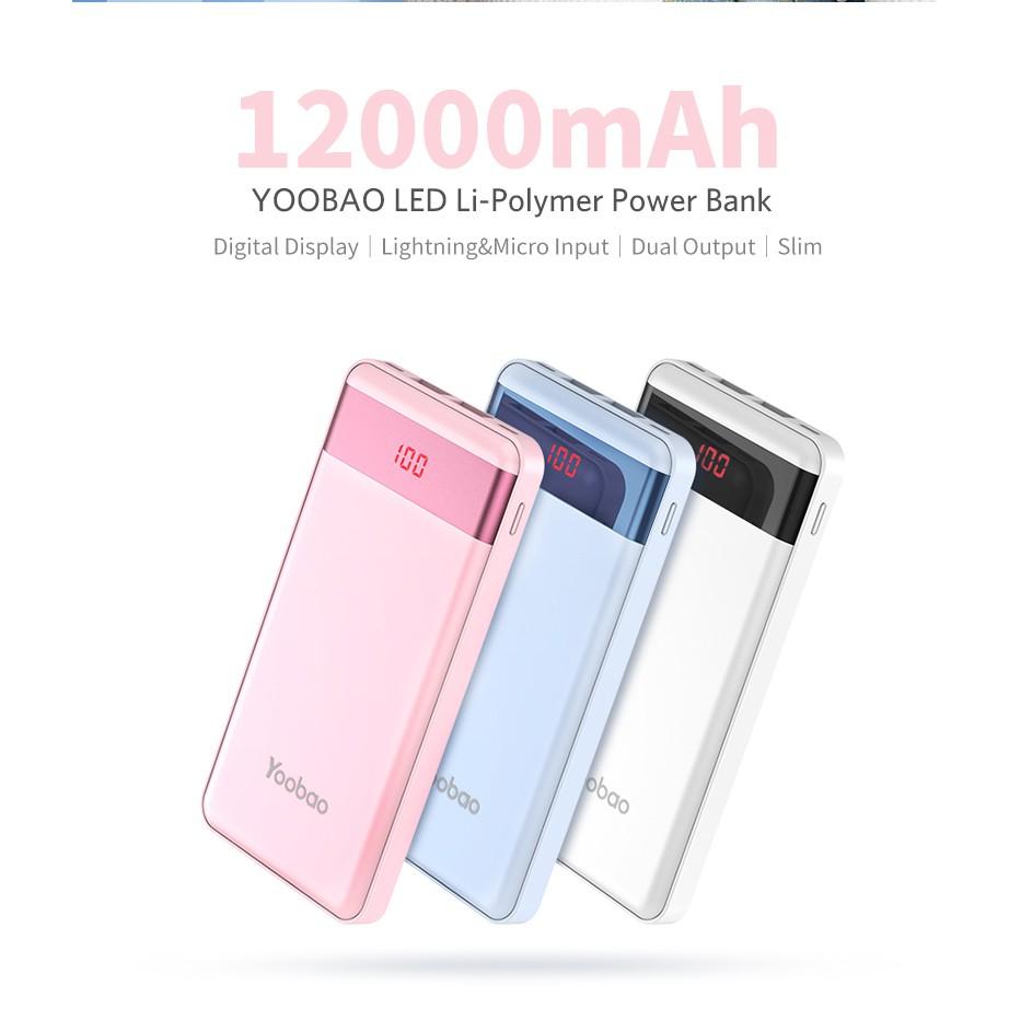 Yoobao Pl12 Pro Li Polymer 12000mah Led Power Bank 100 Original Powerbank Veger Shopee Malaysia