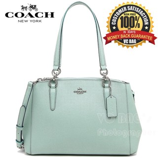 57c8b0082 [AUTHENTIC]COACH F11899 Mini Christie Carryall in Leather Bag [Silver/Aqua]  | Shopee Malaysia