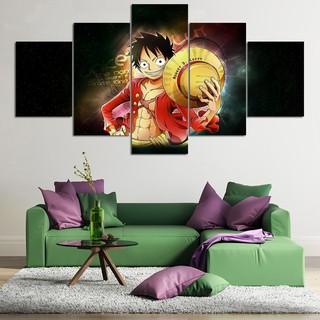5Pcs One Piece Monkey D  Luffy 3D Home Wall Art Canvas