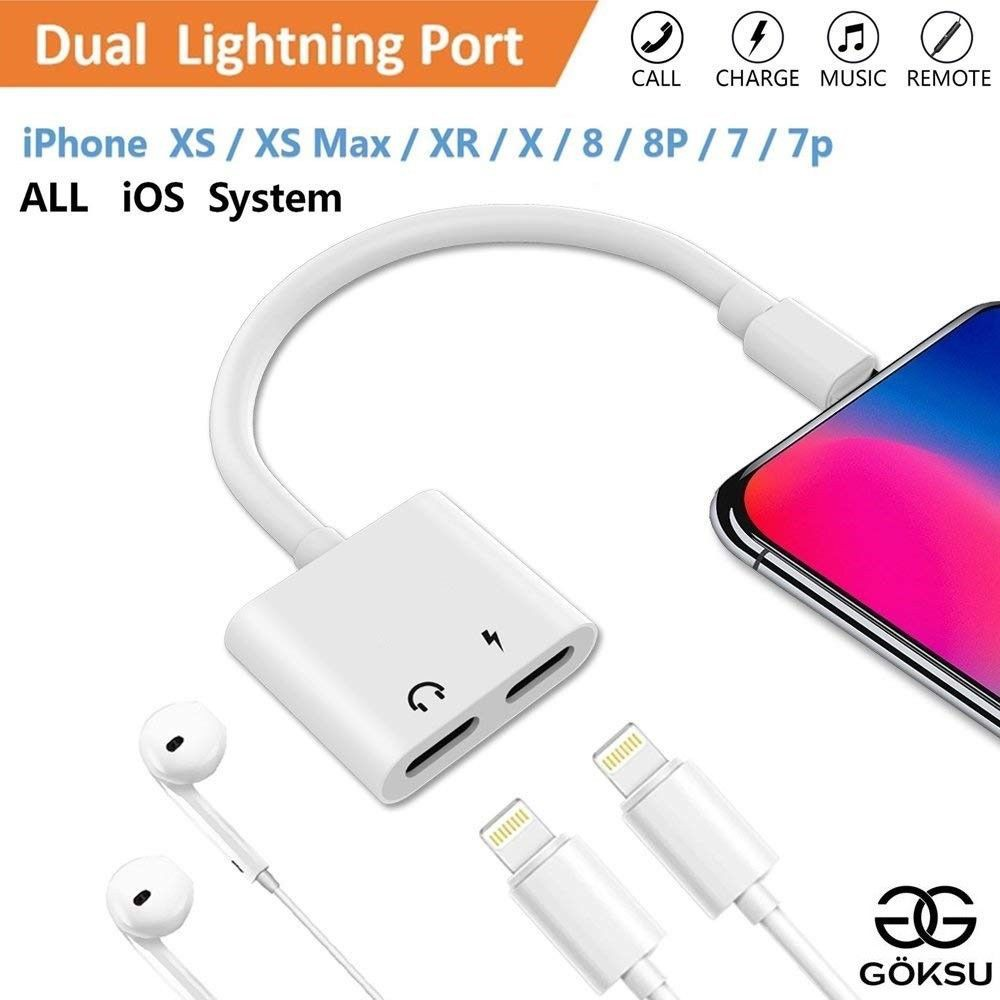 Power Adapter for iPhone Adapter Compatible for iPhone X for iPhone XS//XS MAX//XR for iPhone 8P//7//7P AUX Audio Splitter Adaptor Cable Earphone Wire Control Charge Music Support iOS 10-12 System or More IMBCYL 4348681656