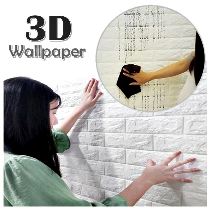 3D Wallpaper DIY Wall Decor Embossed Brick Stone