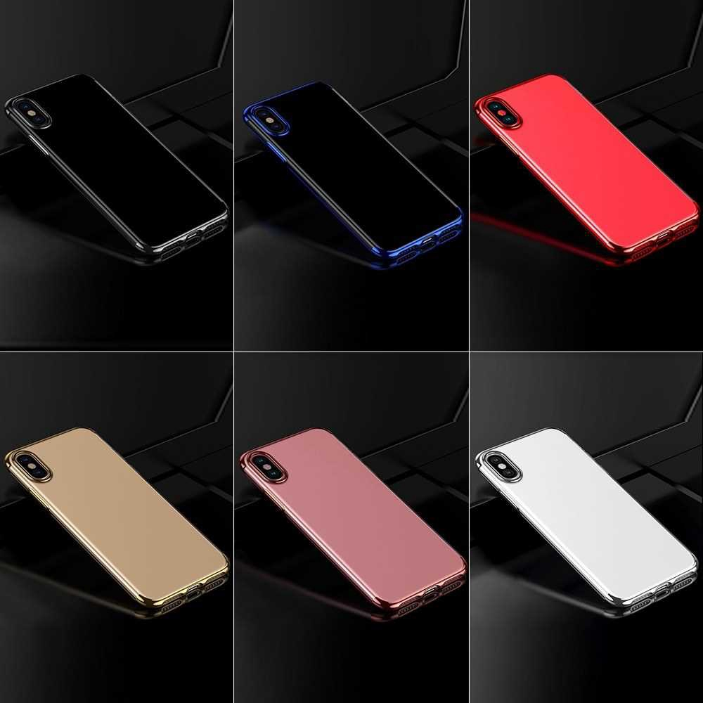 For iPhone XS Max Soft TPU Case Ultra Thin Transparent Phone Shell (Silver2)