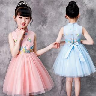 2019 New Elegant Chinese Style Girls Dress Embroidery Wedding Dresses Girls Princess Kids Birthday Party Dresses Ball Go