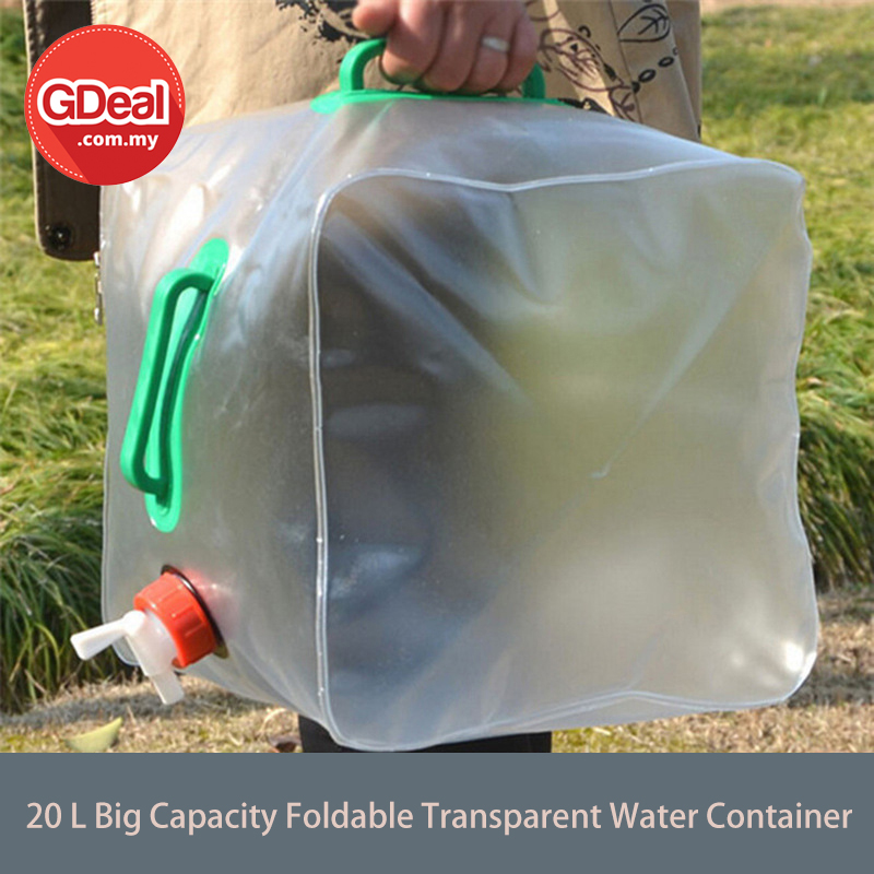 GDeal 20L Transparent PVC Folding Water Bag Foldable Big Capacity Water Container Bucket Camping Collapsible