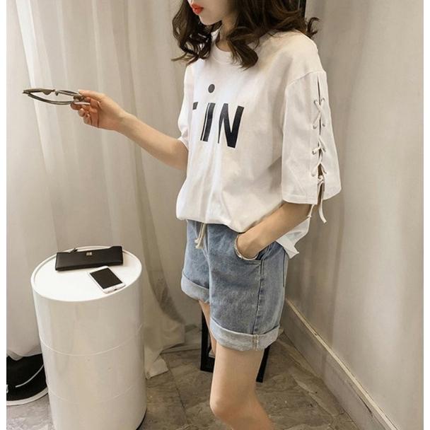 454d67ac ProductImage. ProductImage. Letter Print Tops Korean Half sleeve Tshirts  Tee Summer Losse