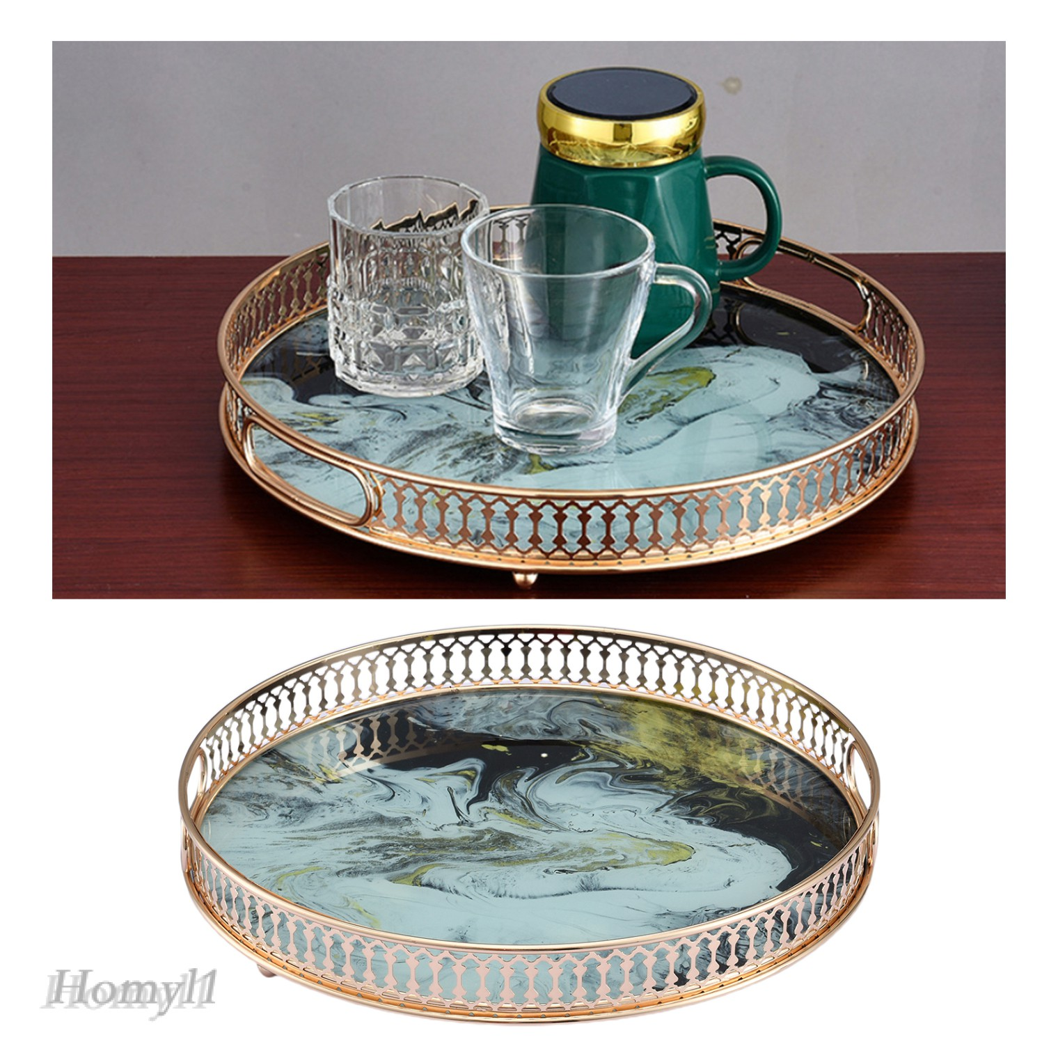 Homyl1 Gold Mirror Tray Perfume Glass Vanity Tray Dresser Tray Ornate Metal Decorative Shopee Malaysia