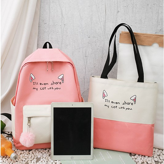 Girl Backpack Cat Cute Ear Backpack Set 4 IN ONE Sets Bag 少女休闲背包 BP0017
