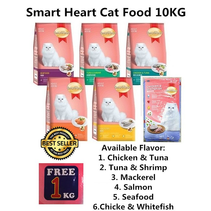 EXTRA 1KG !! Smart Heart Cat Food 5KG / 10KG CHICKEN TUNA SEAFOOD MACKEREL SALMON