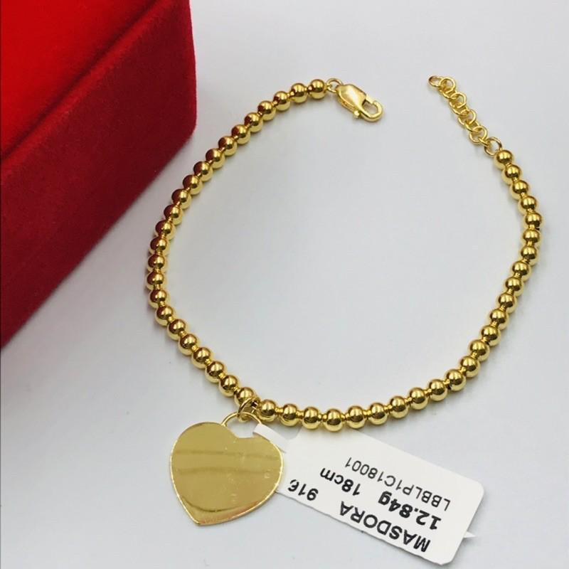 Gelang Bola-bola Mini Heart DIY/Ball Chain Bracelet with Mini Heart DIY Design (Emas 916)