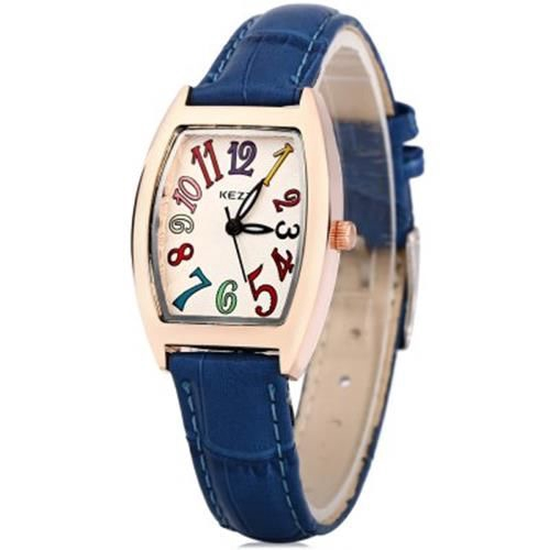 Jam Tangan WOMEN QUARTZ WATCH RECTANGLE DIAL LEATHER BAND WRISTWATCH (BLUE) Murah