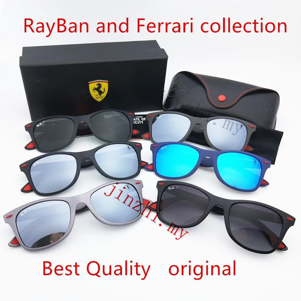 bc352a9ef7 Original RayBan Ferrari Liteforce Polarised RB4195 F602 71 Matte Black Green