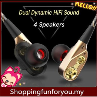 Dual-Dynamic Quad-core 3 5mm Noise Isolation Sport In-ear Earphone with  Microphone and Subwoofer Earphone