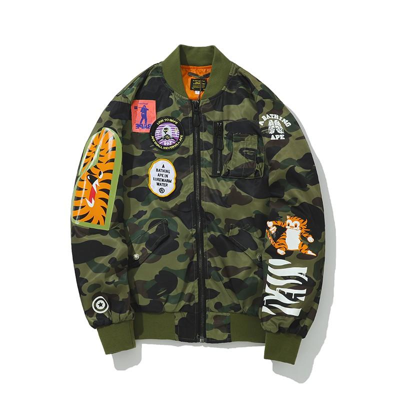 afdd7830d36b Luluma Bape Half shark Jacket Tiger embroidery Boomer jackets ...