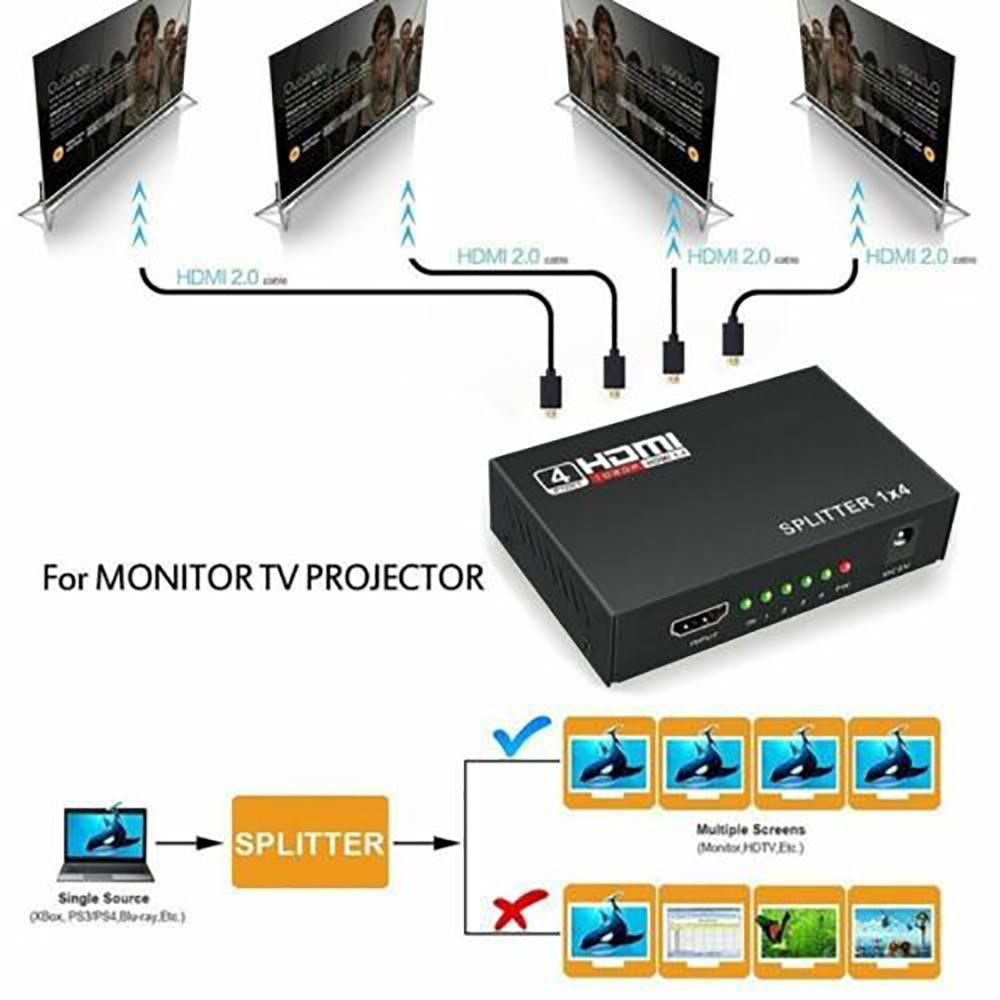 1 in 4 HDMI Splitter Switcher 4K/2K 1X4 Port Hub Adapter