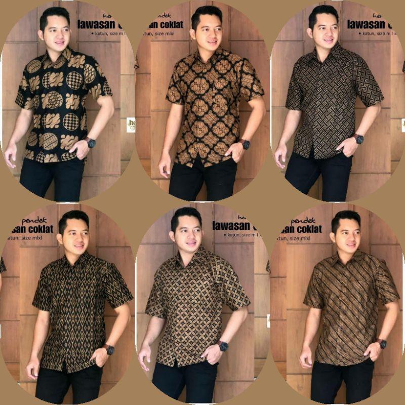 Hem, Short Sleeve, Batik Shirt, Pekalongan Batik, Men 's Tops, Top Latest Batik Uniforms