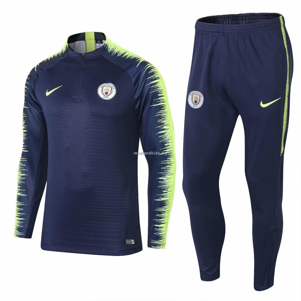 new style fc953 8e7e9 《AP》Manchester City F.C. Blue longsleeve training jersey men's sport suit  18/19