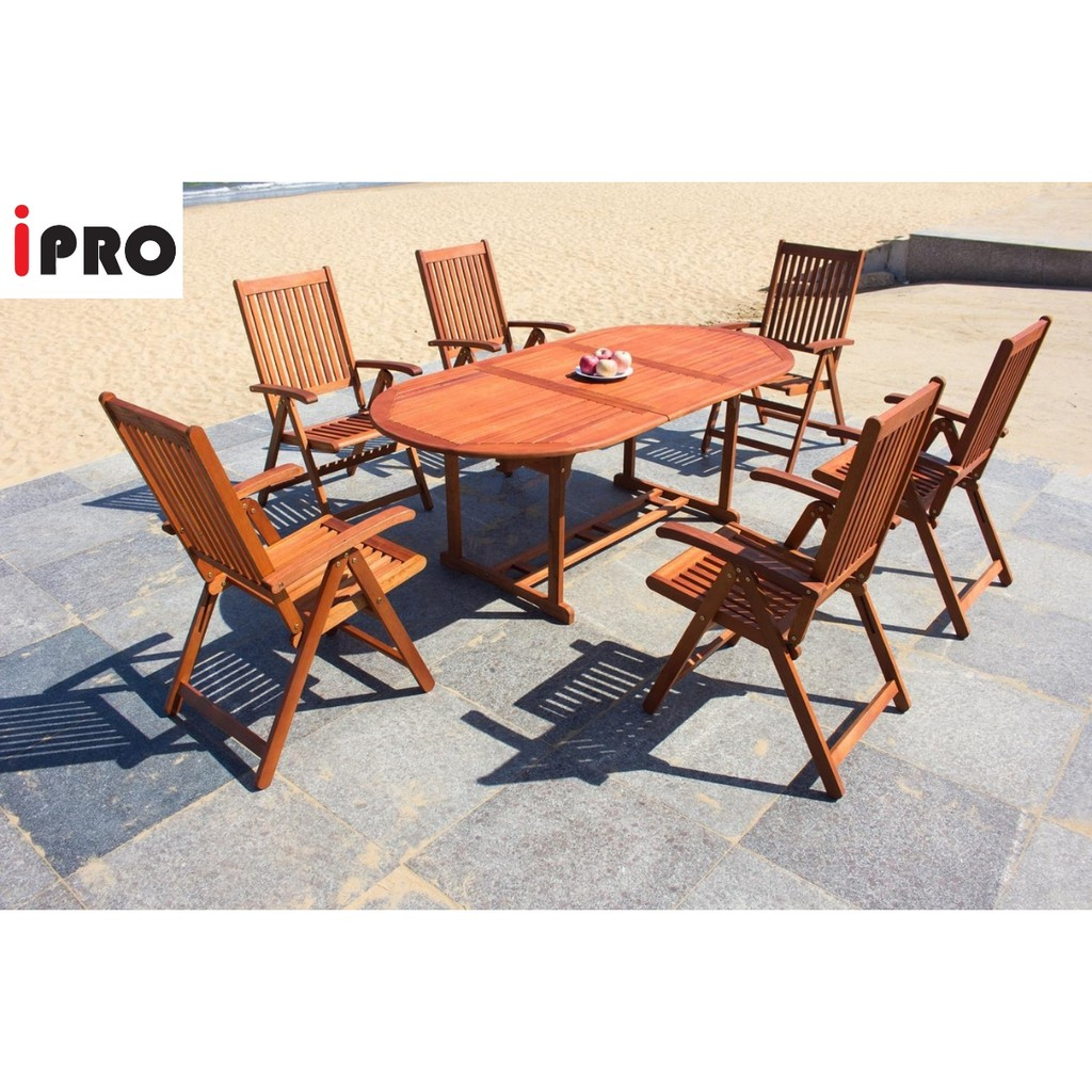 Ipro Wooden Dining Table Set Garden Furniture Extendable Table Foldable Chair Meja Makan Vanamo Set 6 Seater Shopee Malaysia
