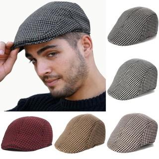 835d001df Unisex Tweed Cap Vintage Style Check Flat Cap Baker Boy Newsboy Hats