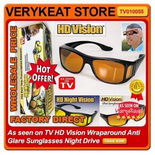 2e8ef8e915 2 In 1 As Seen On TV ASOTV HD Vision Wraparound Anti Glare Sunglasses Night  Drive