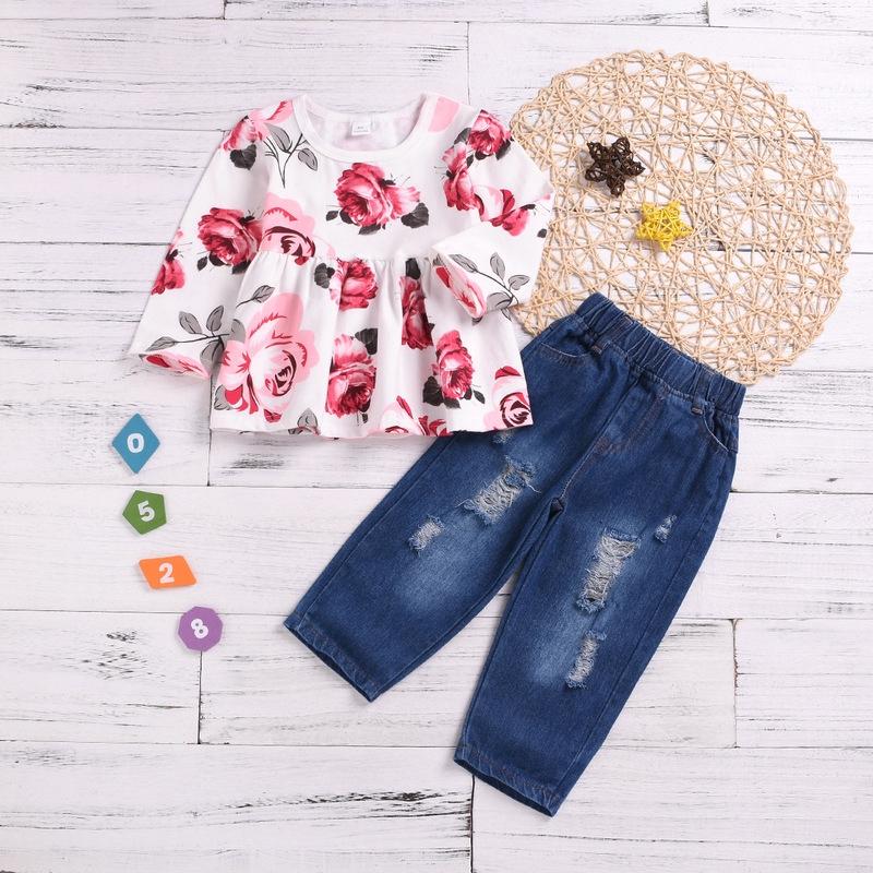 814312f6b3ee4 ProductImage. ProductImage. Autumn New Kid Baby Girls 2pcs Clothing Set Long  Sleeves T shirts ...