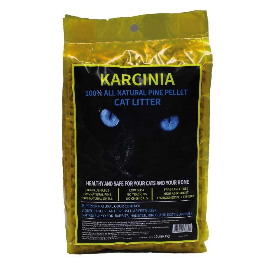 (NEW ARRIVAL) 1kg KARCINIA Eco Natural Pine Wood Cat Litter | Pasir Kucing Kayu Pine 1kg