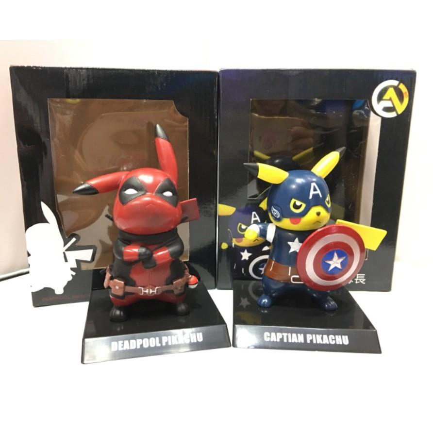 Deadpool Captain America Pikachu Mini PVC Figure Collectible Model Toys Small