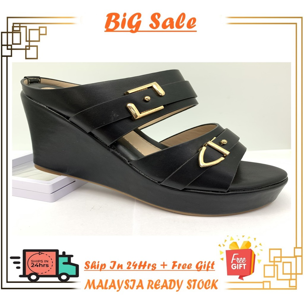 {Ready Stock} Ladies Open Toe High Wedges