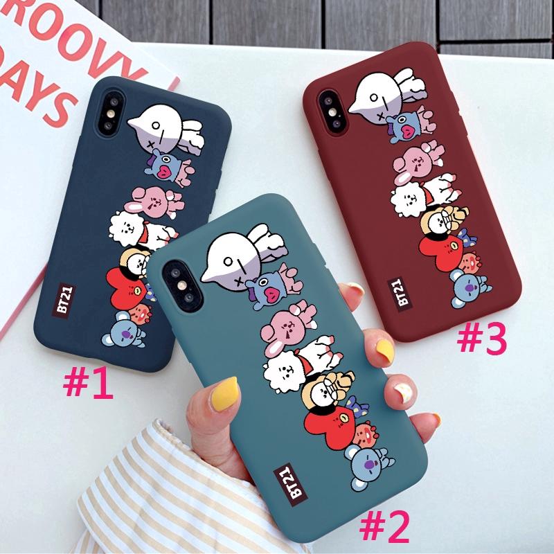 ceb10cc725 Case iPhone XS XR XSMAX Apple 6/6s 7/8 6plus/6Splus 7plus INS Fashion  Cartoon BT21 Pattern Silicone Soft Back Covers