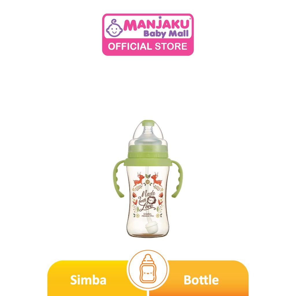 Simba Dorothy Wonderland PPSU Wide Neck Feeding Bottle with Auto Straw & Handle - Assorted Design (270ml/9oz)