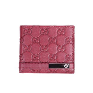 Gucci Leather Metal Bar Bi-Fold Wallet - Red