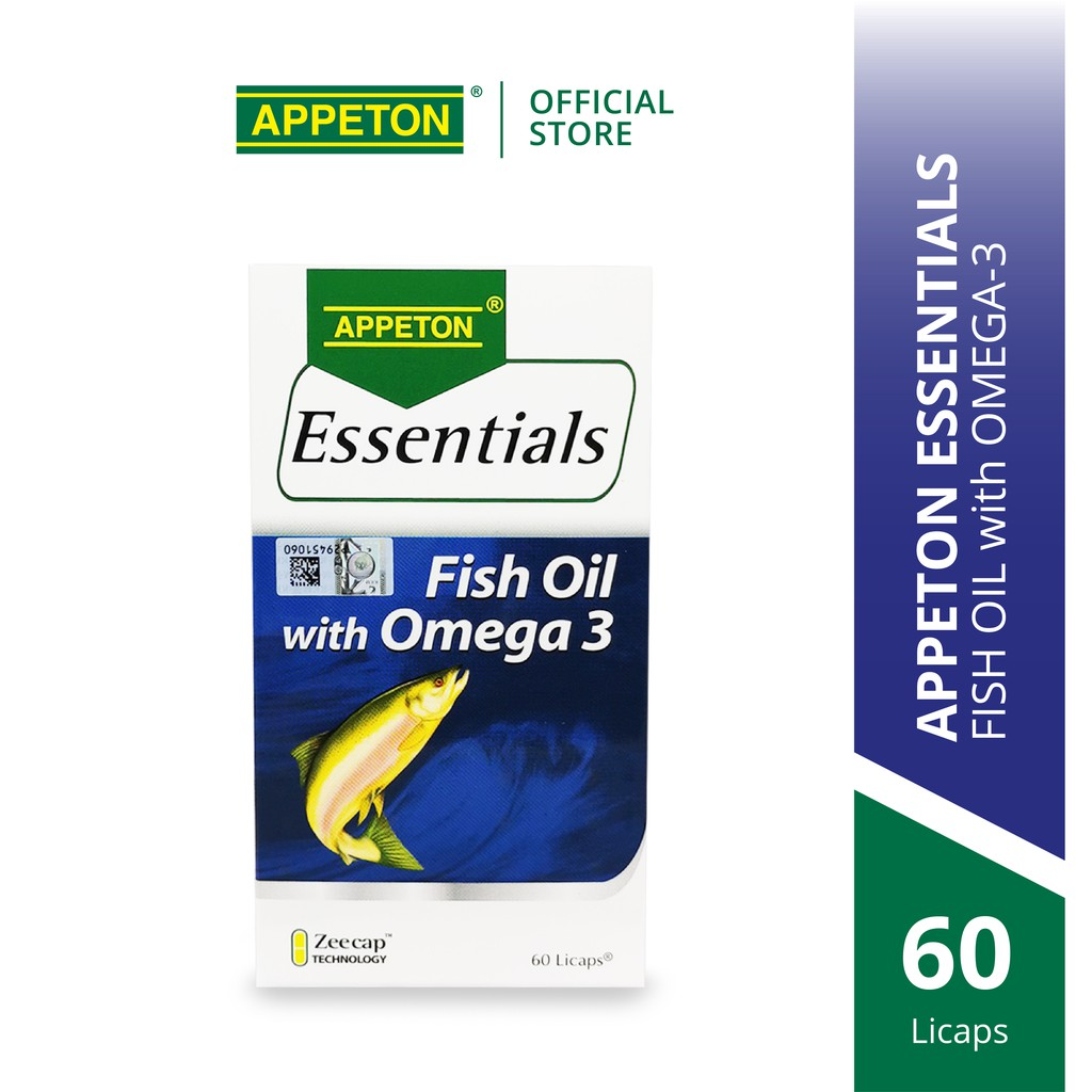 APPETON Essentials Fish Oil with Omega-3 (60's) for Heart Health, Blood Circulation & Joints
