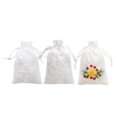 """Embroidery Pouches Assorted Design 3 Pcs per Packet 4"""" x 6"""" (White)"""