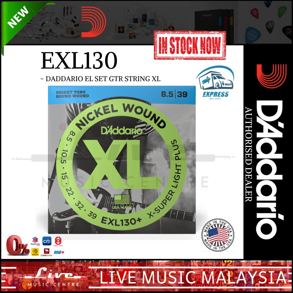 10 Sets D/'Addario EXL130 Extra Super Light Electric Guitar Strings 8-38 pack