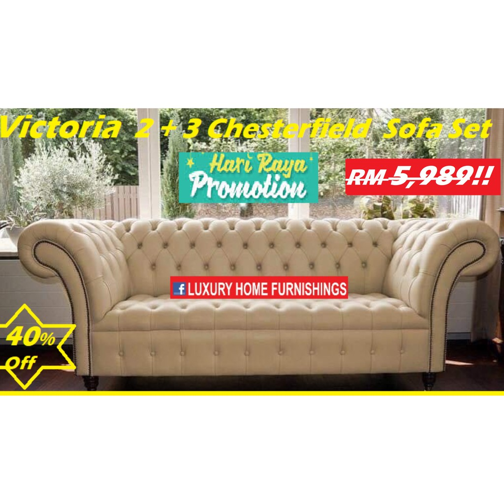 VICTORIA, LX  2 + 3 CHESTERFIELD SERIES  SOFA SET, IMPORTED FIBER GUARD FABRIC!! RM 5,989!! 40% Off!!