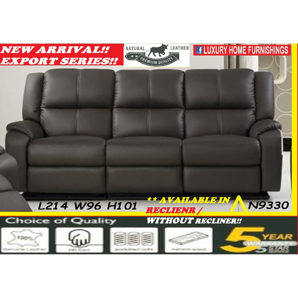 N9330, GENUINE COW LEATHER, H/L, 3 SEATER SOFA !!  AVAILABLE IN RECLINER / WITHOUT RECLINER, RM 4,649!!!! SAVE 40% OFF!!