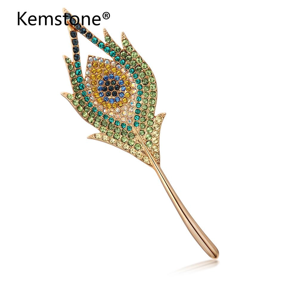 Large rosy gold tone crystal peacock eye feather brooch pin great gift